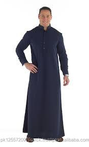 High Quality Saudi Style Islamic Qatar Men Daffah Thobe Navy Blue Man Gown Designs Muslim Jubah