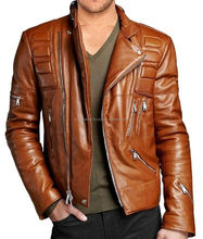 Mens biker genuine Cow leather jacket, Padded Motorcycle leather jacket, Racing jackets for men