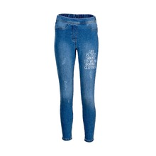 Women Slogan Embroidery Jeans - 2nd Quality Export Leftover Jeans - 1255