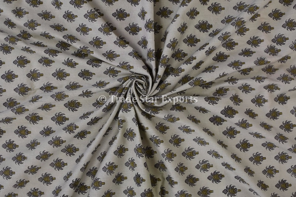 Jaipuri Hand Block Print Cotton Fabric By Yard Indian Ethnic Art Voile Upholstery Fabric For Curtains