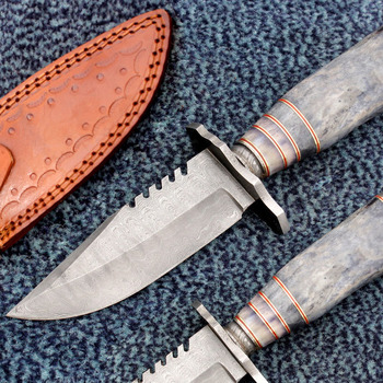 "Custom Handmade Damascus Steel Bowie Survival Knife 10 "" Ladder Pattern With Colored Bone Handle BK-4"