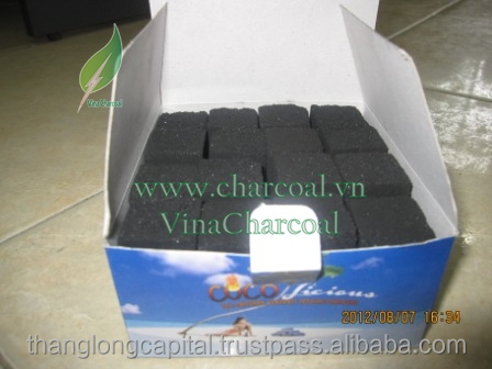 Coconut shell briquette with magic coal form for Hookah shisha with white ash and convenience
