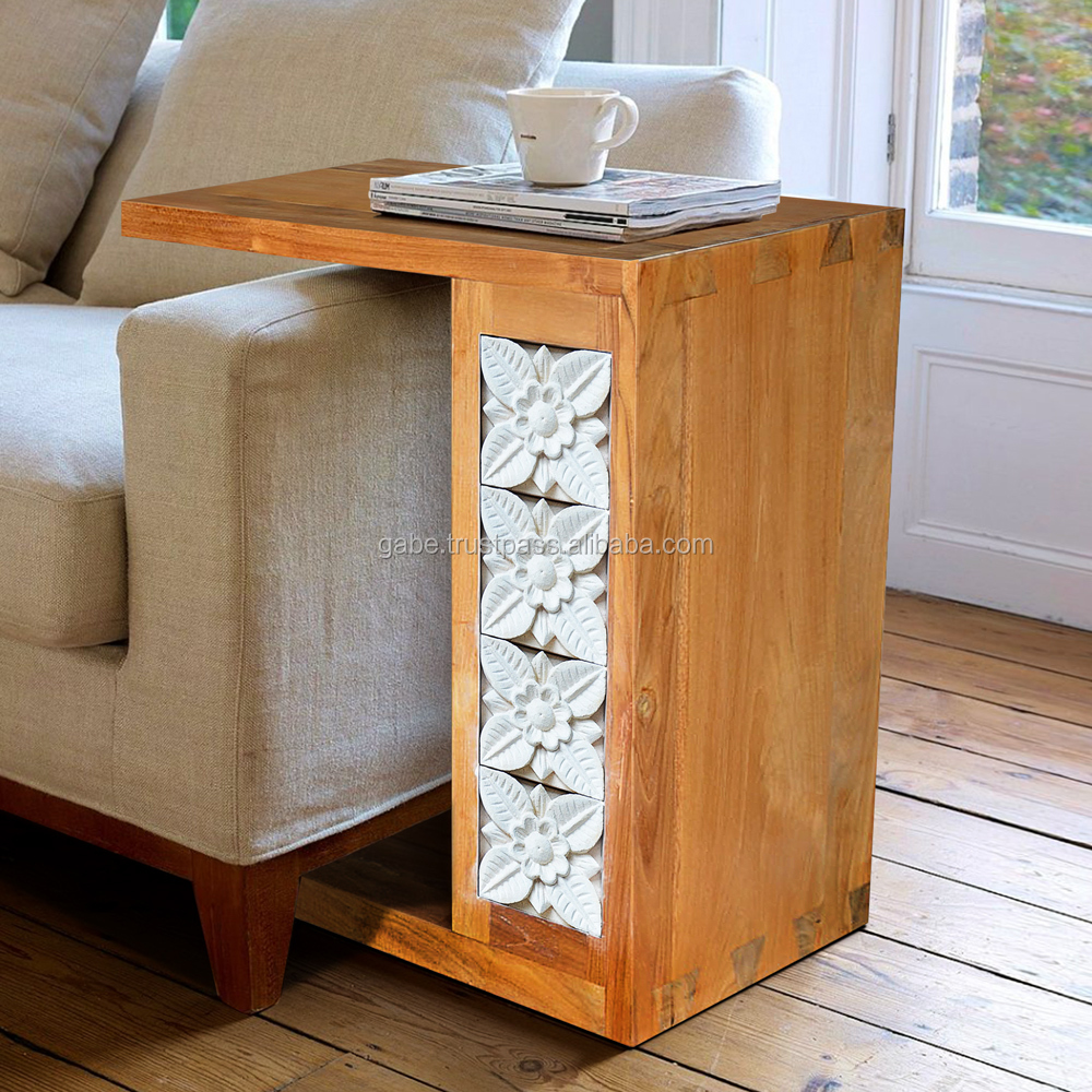 Side table STONE CARVED with natural solid teak wood furniture
