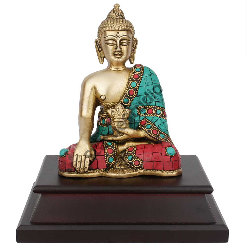 Buddhist Lord Buddha Sitting Corporate Wedding Gift Statue Idol On Wooden Base