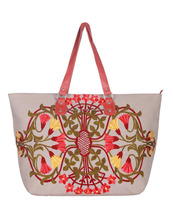Floral Canvas Embroidered Large Utility Beach Leather Striped Indian Tote Bag For Women
