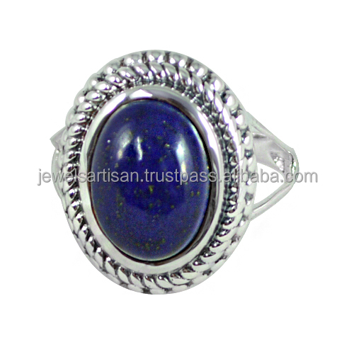 Handmade Lapis Gemstone 925 Sterling Silver Ring Jewelry