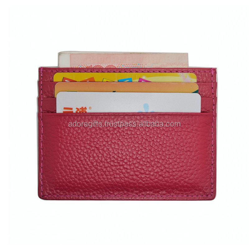 Fashion multi-color customizable pu business credit card holder