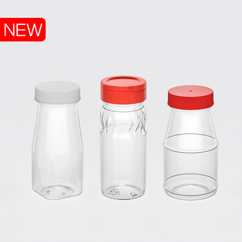 Small PET Plastic jar/bottle with PP lid/cap or aluminium lid to contain pepper salt with flip top cap