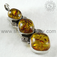 High quality fashion amber gemstone silver pendant 925 sterling silver pendant jewelry online wholesaler