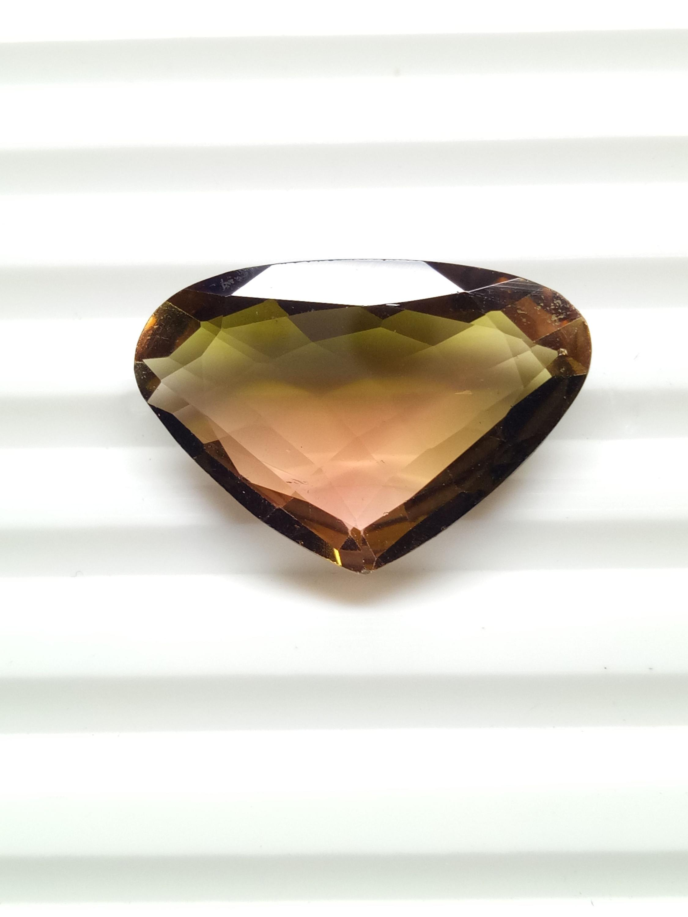 Natural big tourmaline bi color heart shape