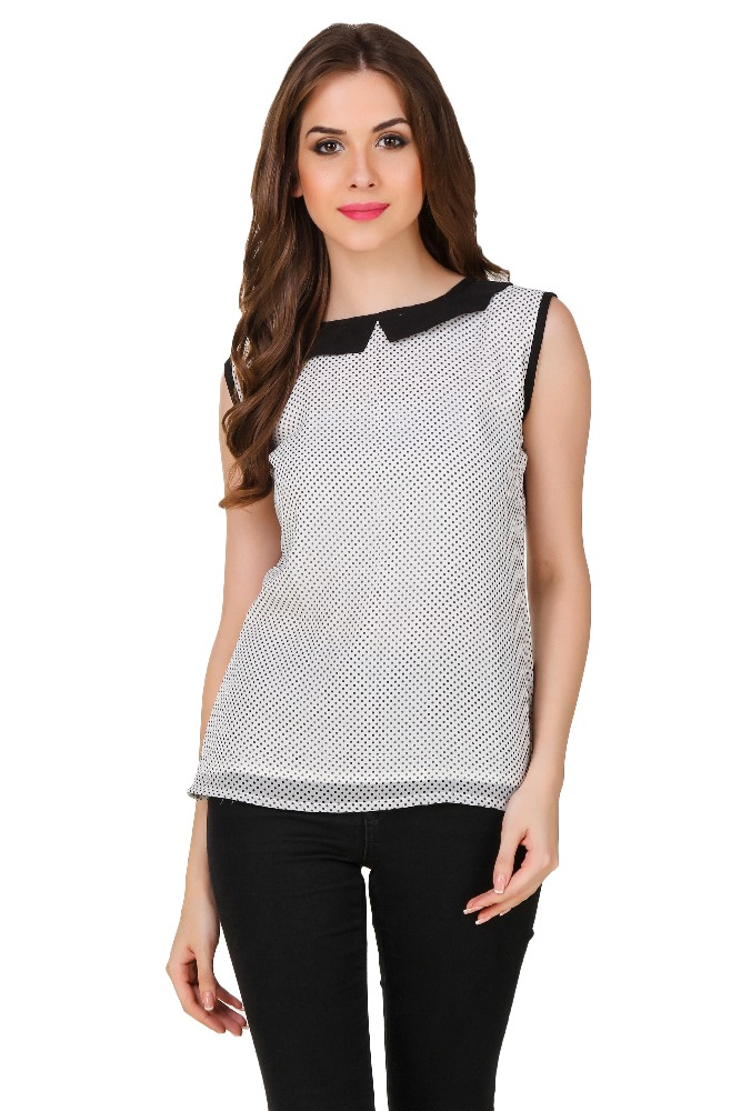 simple neck designs for ladies georgette tops designer white top