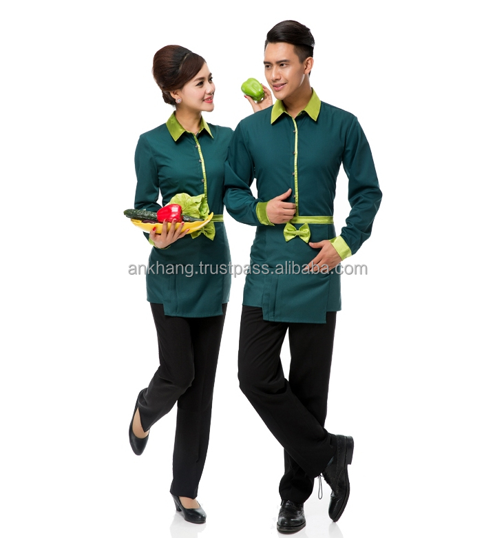 Uniform for waiter and waitress at hotel and restaurant