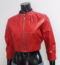 Handmade Women Genuine Leather Cropped Bomber Jacket Beautiful Red
