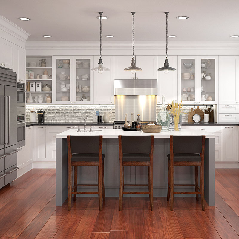 OPPEIN Matte Lacquer White Shaker Style Kitchen <strong>Cabinets</strong> with Countertop