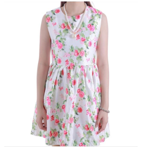 Printed Flower Sleeveless Summer Dress