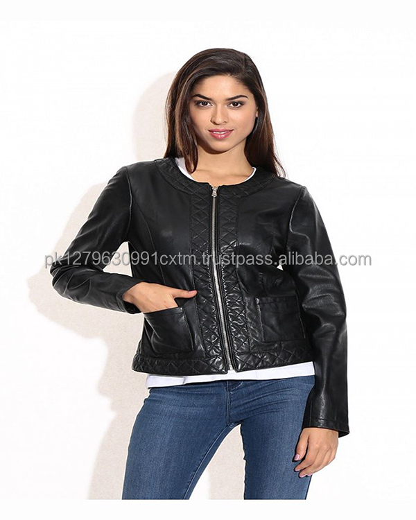 Black Round Neck Quilted Leather Jacket Made In Pakistan High Quality Low Price Custom Made