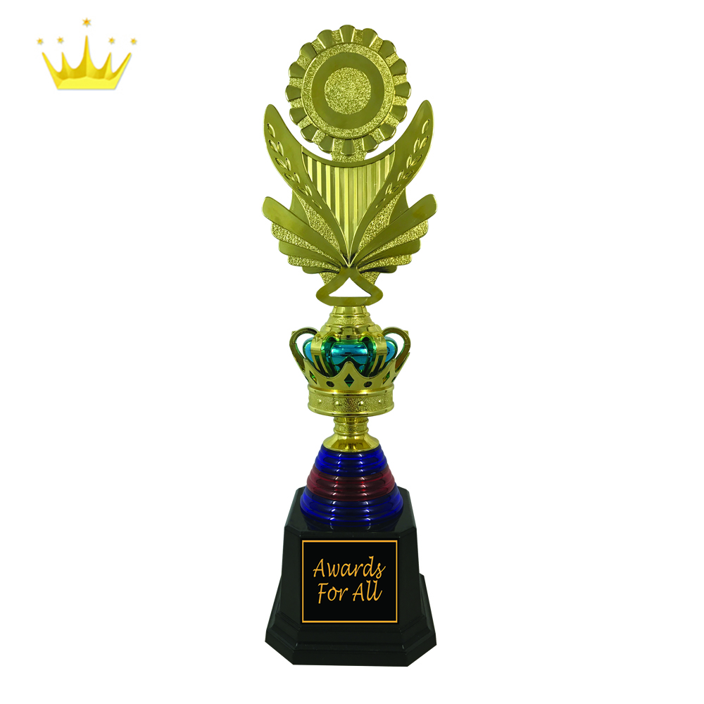 CROWN PLASTIC TROPHY WITH NICE BUTTERFLY WING HOLDER DESIGN