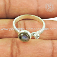 Gleaming labradorite cz precious stone 2018 new year silver jewelry 925 sterling silver rings indian jewelry