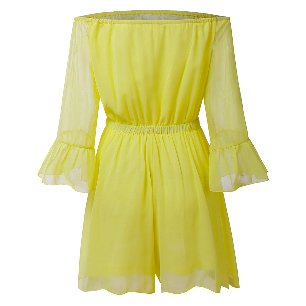 Low MOQ ladies one piece romper summer off shoulder chiffon playsuit clothing