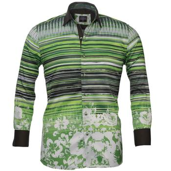 Green Black Striped French Cuff Dress shirt High Quality Shirt