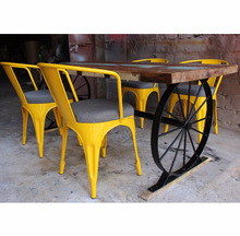Rustic Dining Set Industrial Wind Wheel Dining Table Reclaimed Wood Top Chair With Cushion Cafe Bar Furniture