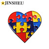 custom heart shaped soft enamel autism lapel pins