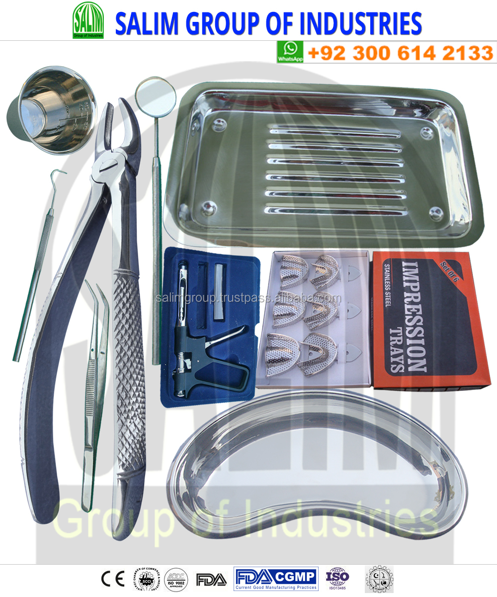 Dental Instruments Set of 8 Pcs, Dental Scaler Tray, Dental Tweezer, Dental Probe and Dental Syringe