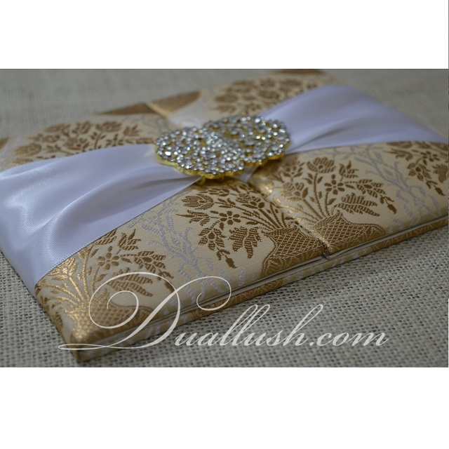 Wedding Invitation Card Gild Brocade White Ribbon Wedding Invitation Folio Wholesale