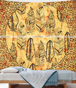 Yellow Tie Dye Bohemian Wall Hanging Decor Art Feather Mandala Tapestry