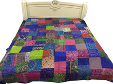 Vintage Silk Patch Kantha Bed Cover, Bed Sheet