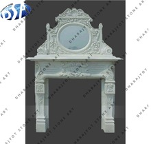 Indoor White Stone New Designing Hand Carved Fireplace