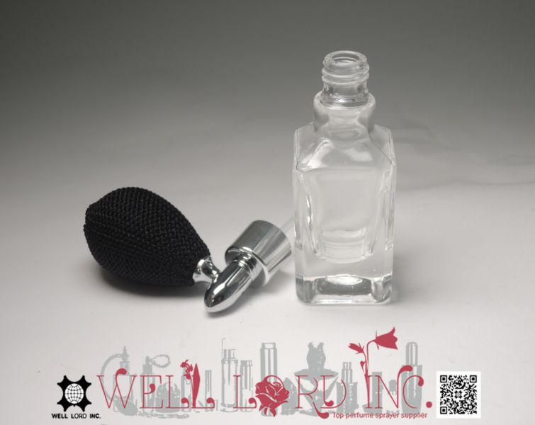 Superior 13ml travel accessory with sea green bulb transparent glass bottle pump sprayer