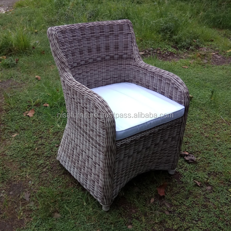 Gray Rattan Raw Material Dining Chair Furniture