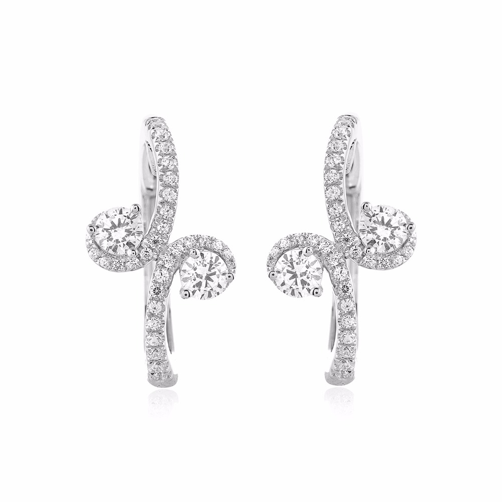 Certified 0.90 Ct Real Genuine Diamond Forever Us Two-Stone Bypass Hoop Earrings Solid .925 Sterling Silver