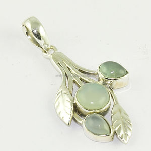 Exclusive leaf aqua chalcedony gemstone pendant jewelry Indian 925 sterling silver pendant