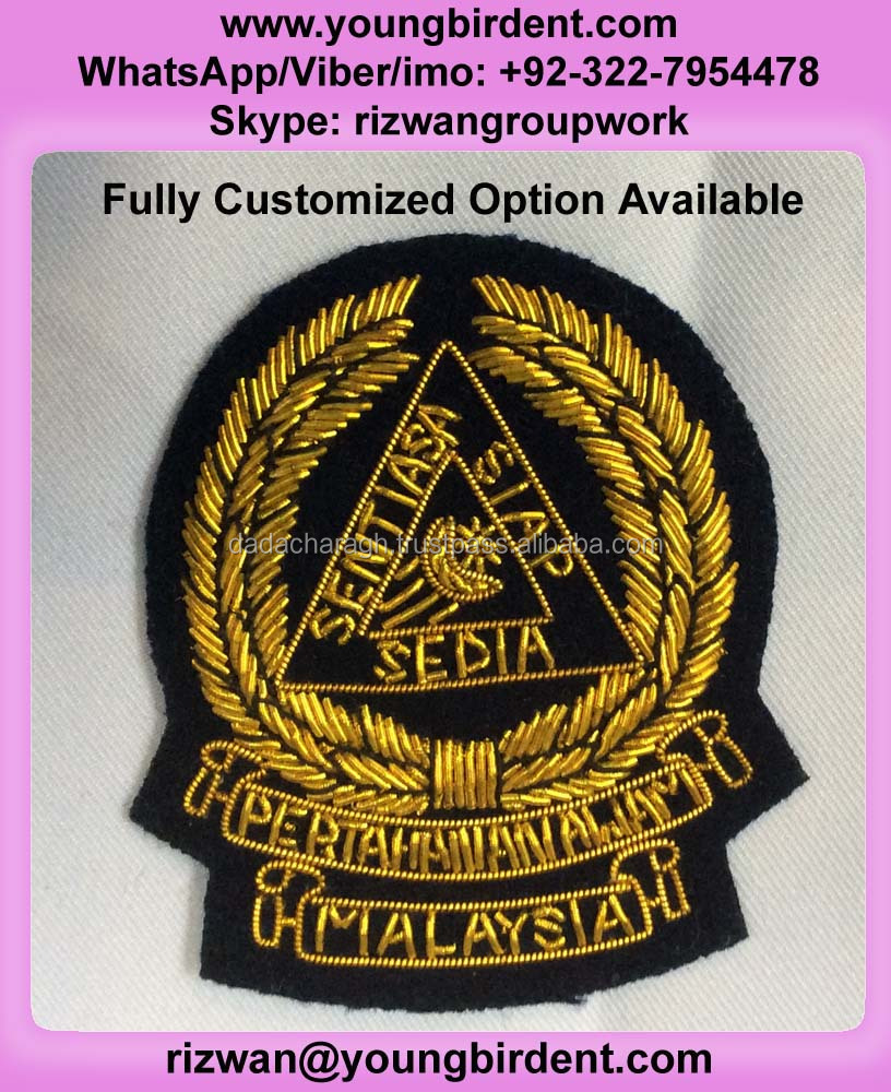 MALAYSIAN JPA WIRED BADGE, HAND EMBROIDERY BULLION WIRE EMBLEM CREST PATCH, HAND EMBROIDERY GOLD BULLION WIRE BADGE