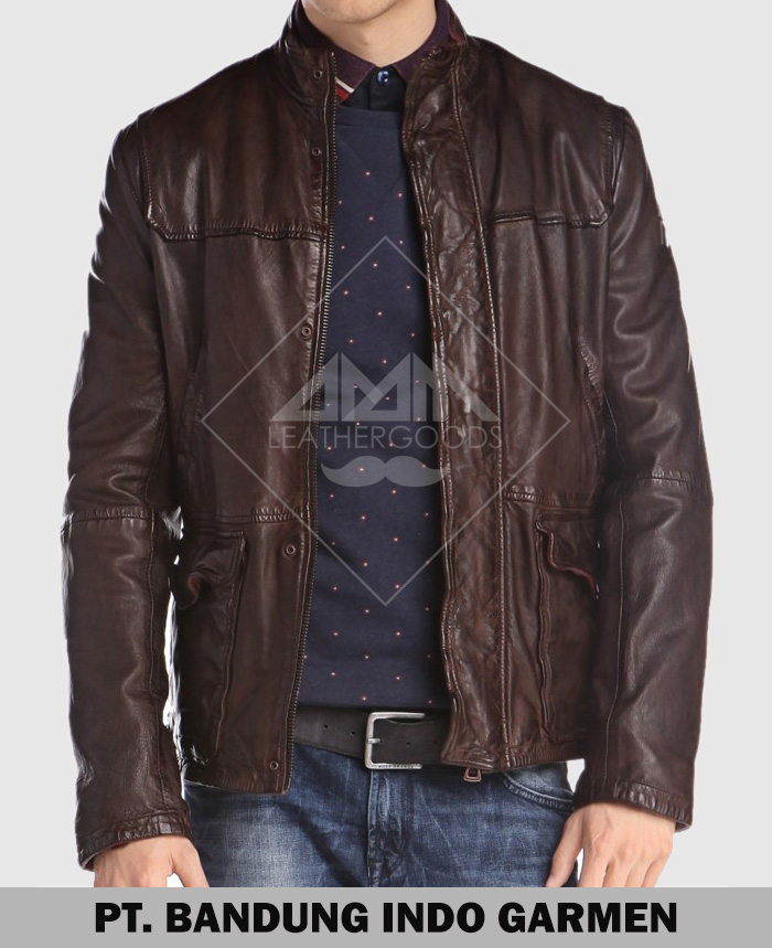 Men Formal Genuine Lambskin Leather Jacket with Cargo Pocket