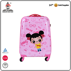 Popular sweet designs 17 inch children rolling cartoon trolley hard case kids luggage