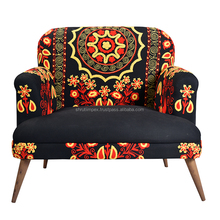 Handmade Vintage Indian Traditional Cotton Embroidery Upholstery Sofa