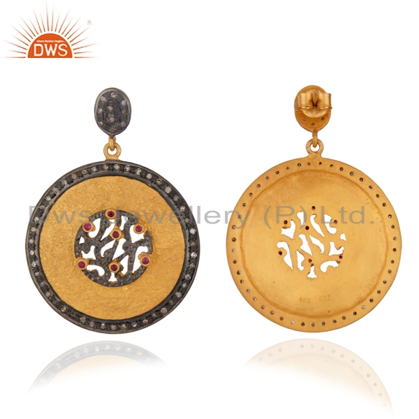 Natural Ruby Pave Diamond Designer Earrings wholesale Gold Plated 925 Silver Earrings Jewelry Manufacturer