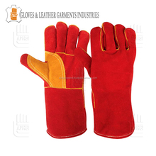 Cowhide Split Leather Workign Driving Welding Gloves Reinforcement Palm Fully String For Longevity