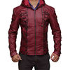 Mens red Biker Leather Jacke
