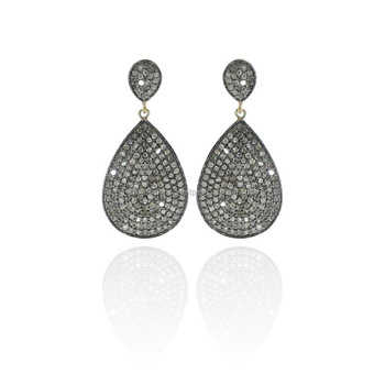 14K Yellow Gold Pave Diamond 925 Silver Drop Design Dangle Earrings Jewelry Supplier