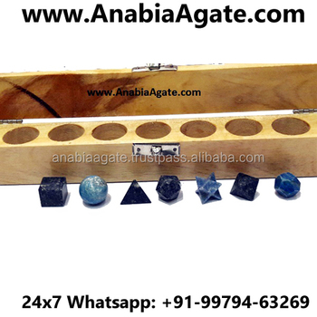 7 piece Lapiz Lazuli Sacred Geometry set with Wooden Box : Platonic Solid Crystal