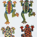 Colored Metal Tropical Frogs Handmade Haitian Metal Sculpture Art Decorative Artwork Haiti