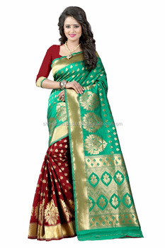 Women's Embellished Woven Art Silk Turquoise & Maroon Designer Saree for Women, Suit in Every Occasion