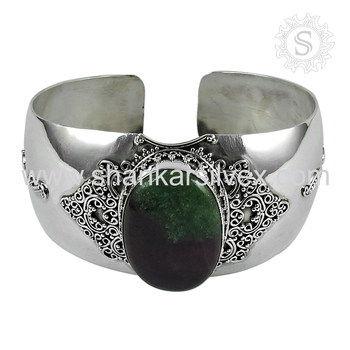 Vintage style silver bangle ruby zoisite gemstone 925 sterling silver jewelry wholesalers