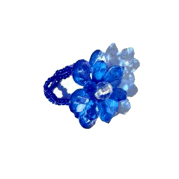 Flower Rings Colored Crystals South American Artisan Bead Fashion Jewelry