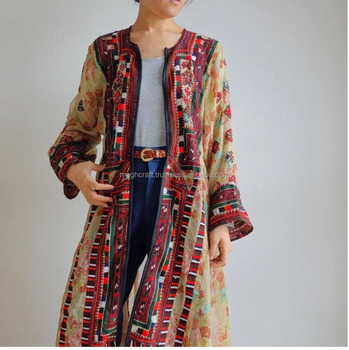 Long Balochi Jackets - Cotton/Silk Balochi Dress - Vintage Kuchi Handmade Balochi Tradition Dress - STOCKLOT