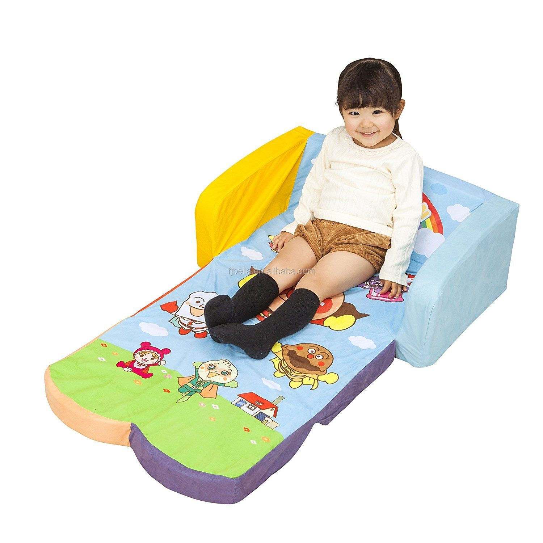 Children's Flip Open Sofa Bed Kids Upholstered Foam Chair Toddler Recliner with Children's 2 in 1 Flip Open soft kids sofa bed